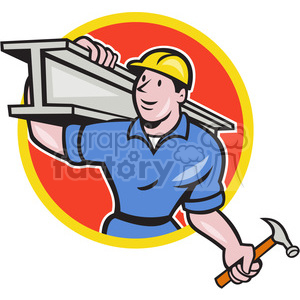 cartoon retro concrete worker construction builder
