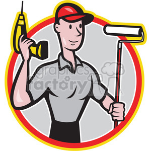 handyman cordless drill paint roller clipart. Commercial use image # 389953