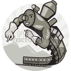 steam train superhero clipart. Royalty-free image # 389993