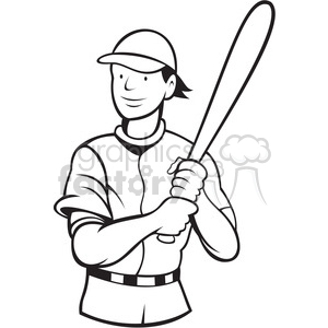 baseball batting stance black white clipart. Commercial use image # 390019