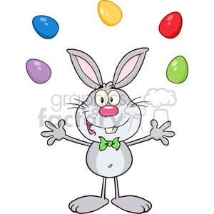 Royalty Free RF Clipart Illustration Cute Gray Rabbit Cartoon Character Juggling With Easter Eggs clipart. Royalty-free image # 390209