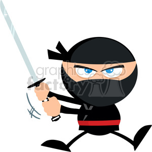 Royalty Free RF Clipart Illustration Angry Ninja Warrior Jumping With Katana Flat Design clipart. Royalty-free image # 390219