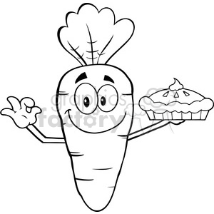 Royalty Free RF Clipart Illustration Black And White Smiling Carrot Cartoon Character Holding Up A Pie clipart. Commercial use image # 390229