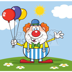 Royalty Free RF Clipart Illustration Funny Clown Cartoon Character With Balloons And Waving On Meadow clipart. Commercial use image # 390239