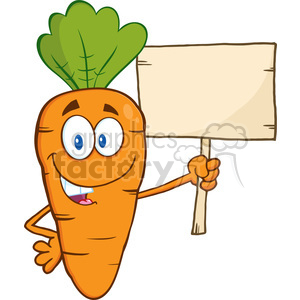 Royalty Free RF Clipart Illustration Funny Carrot Cartoon Character Holding A Wooden Board clipart. Royalty-free image # 390259
