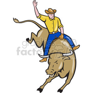 rodeo cowboy bull riding front clipart. Royalty-free image # 390401