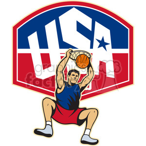 basketball player dunking hoop front USA clipart. Commercial use image # 390475
