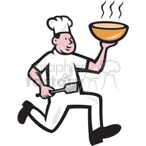 cook running with spatula and hot bowl clipart. Royalty-free image # 391357