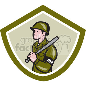 military police with baton badge clipart. Commercial use image # 391387