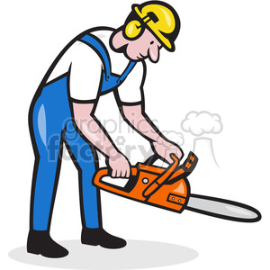 lumberjack holding chainsaw side vector clipart. Commercial use image # 391417