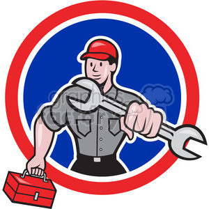 mechanic holding spanner wrench clipart. Commercial use image # 391427