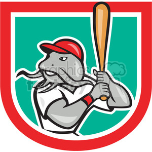 catfish baseball player batting mascot logo clipart. Commercial use image # 391437