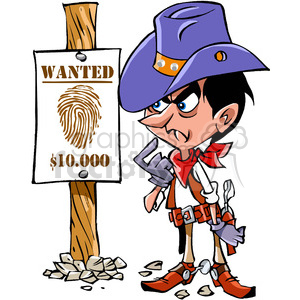 western cartoon wanted sign clipart. Commercial use image # 391459
