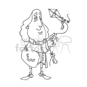Benjamin Franklin bw cartoon caricature clipart. Commercial use image # 391723