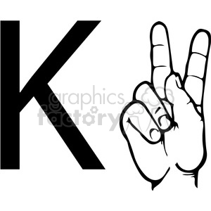sign+language education letters hand black+white alphabet k