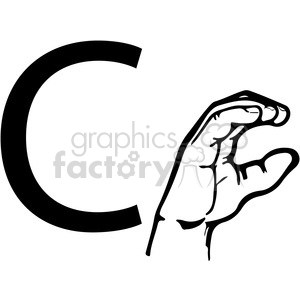 ASL sign language C clipart illustration worksheet clipart. Royalty-free image # 392305