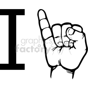 sign+language education letters hand black+white alphabet i