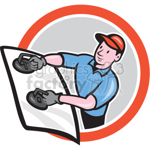 automotive glass installer standing in circle shape clipart. Royalty-free image # 392335