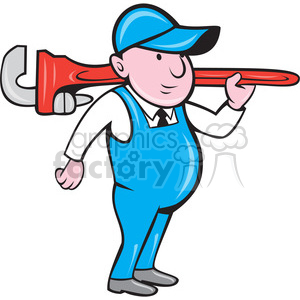 plumber with big wrench STAND shape clipart. Commercial use image # 392375