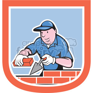 brick layer 2 in shield shape clipart. Commercial use image # 392405