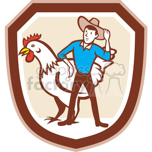farmer chicken feeder in circle in shield shape clipart. Commercial use image # 392425