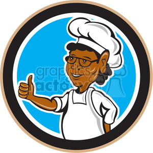 chef African American standing thumb up in circle shape clipart. Royalty-free image # 392435