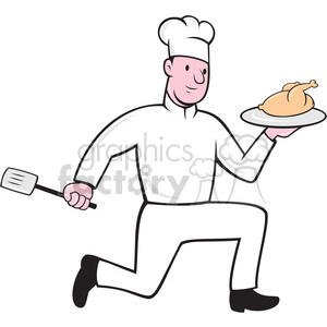 chef holding chicken front view shape clipart. Royalty-free image # 392445