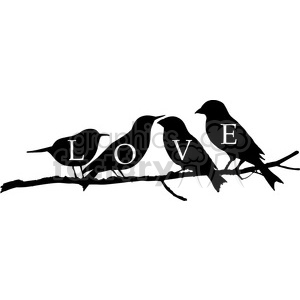 birds on a branch love clipart. Commercial use image # 392570