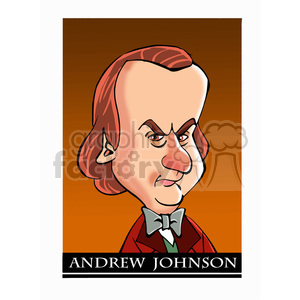 celebrity famous cartoon editorial-only people funny caricature andrew+johnson president 7th 17th