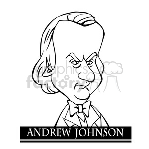 andrew johnson black white clipart. Commercial use image # 392893