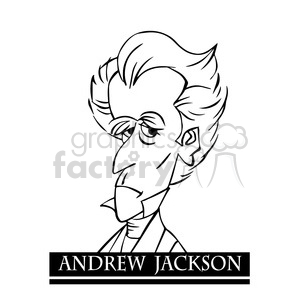 andrew jackson black white clipart. Commercial use image # 392903