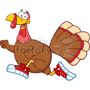 6906_Royalty_Free_Clip_Art_Happy_Turkey_Bird_Cartoon_Character_Jogging clipart. Royalty-free image # 393066
