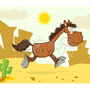 Smiling Horse Cartoon Character Running Over Western Landscape clipart. Royalty-free image # 393086