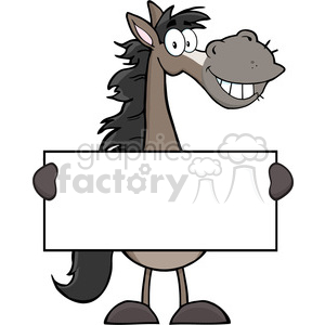 Grey Horse Cartoon Mascot Character Holding A Banner clipart. Royalty-free image # 393096