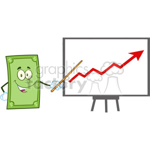 6854_Royalty_Free_Clip_Art_Smiling_Dollar_Cartoon_Character_With_Pointer_Presenting_A_Progressive_Arrow