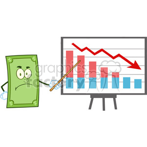 6859_Royalty_Free_Clip_Art_Angry_Dollar_Cartoon_Character_With_Pointer_Presenting_A_Falling_Chart clipart. Royalty-free image # 393126