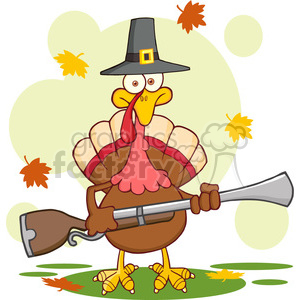 6903_Royalty_Free_Clip_Art_Pilgrim_Turkey_Bird_Cartoon_Character_With_A_Musket clipart. Royalty-free image # 393136