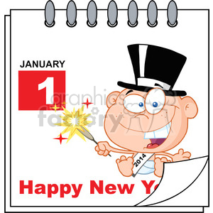 Royalty Free RF Clipart Illustration Happy New Year Calendar With New Year Baby clipart. Commercial use image # 393146