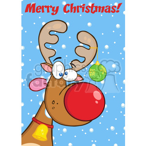 Royalty Free RF Clipart Illustration Merry Christmas Greeting With Reindeer With Christmas Ball clipart. Commercial use image # 393158