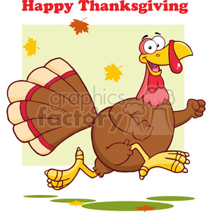 6954 Royalty Free RF Clipart Illustration Happy Turkey Bird Cartoon Character Running