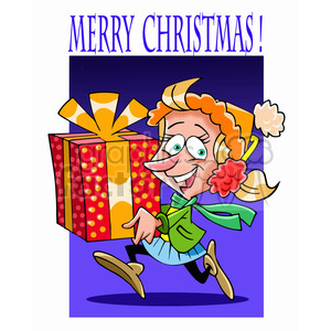 girl Christmas shopping cartoon clipart. Commercial use image # 393366