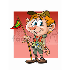 cartoon boy scout camping