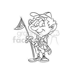cartoon boy scout camping black white clipart. Commercial use image # 393386