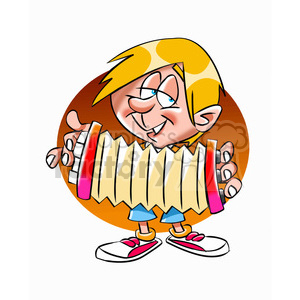 kid playing an acordeon clipart. Royalty-free image # 393464