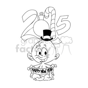 2015 baby new year black white clipart. Royalty-free image # 393474