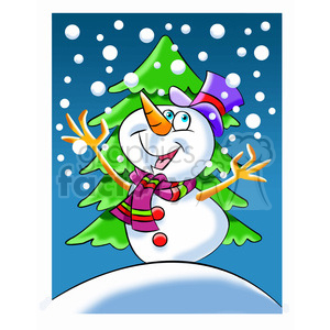 snowman cartoon playing in the snow clipart. Royalty-free image # 393514