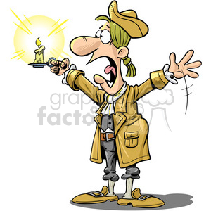 surprised colonial guy holding a candle clipart. Commercial use image # 393534