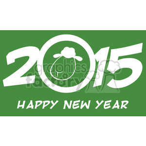 Royalty Free Clipart Illustration Year Of Sheep 2015 Numbers Green Design Card With Sheep And Text clipart. Royalty-free image # 393564