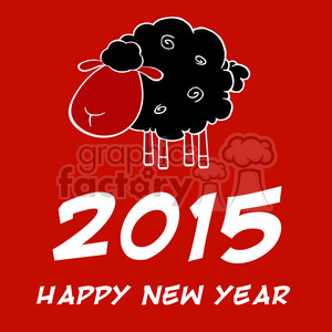 Clipart Illustration Happy New Year 2015 Design Card With Black Sheep clipart. Royalty-free image # 393574