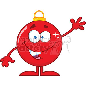 Funny Red Christmas Ball Cartoon Character Waving clipart. Royalty-free image # 393594